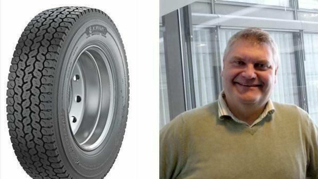 Anders Lindgren, teknisk ekspert for lastebildekk i Michelin i Norden, bringer et dekk som skal kunne vare lenge til det lette lastebilmarkedet.