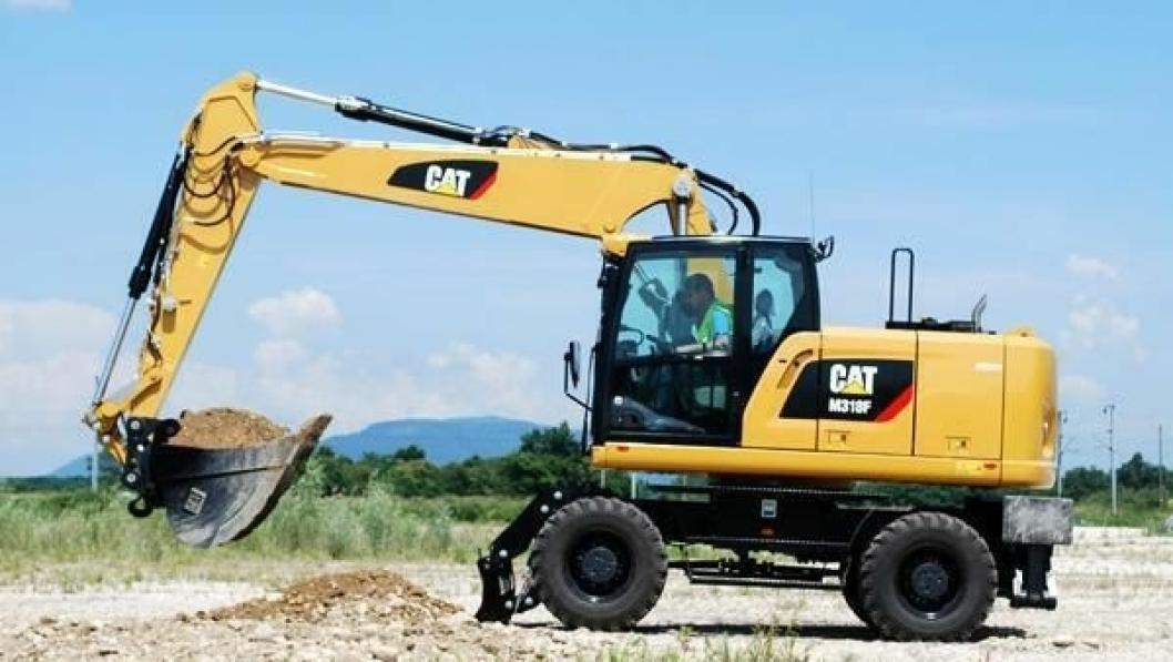 M318F (18 tonn) er den minste i den nye hjulgraver-duoen fra Caterpillar.