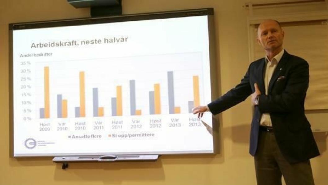 Sjeføkonom Stein Gunnes i MEF på fakta- og analysemøtet torsdag.