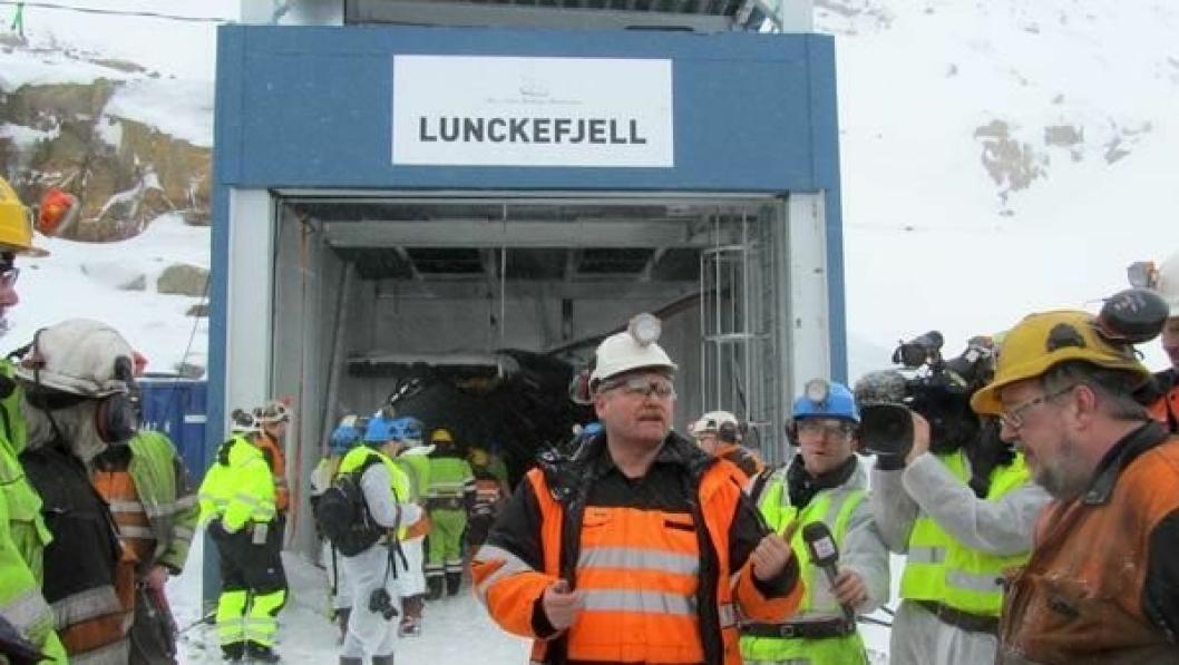 Adm. direktør Per Andersson var i medias søkelys under åpningen av Lunckefjell, en stor dag for gruveselskapet.