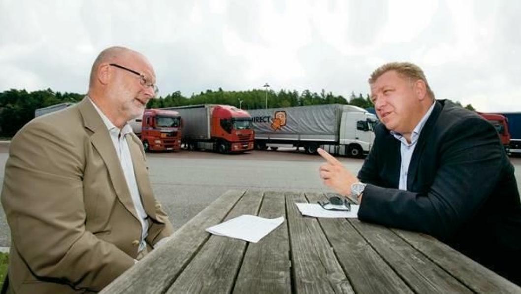 Anlegg&Transport samlet Erling Sæter (til venstre) og Geir A. Mo til debatt og kabotasje og lastebilbransjen i høst. De var ikke enige da, og de er ikke enige nå.