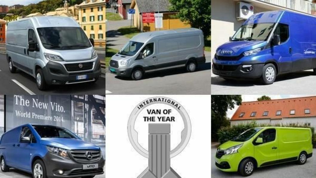Kandidatene, øverst fra venstre: Fiat Ducato, Ford Transit og Iveco Daily. Nederst fra venstre: Mercedes-Benz Vito og Renault Trafic.