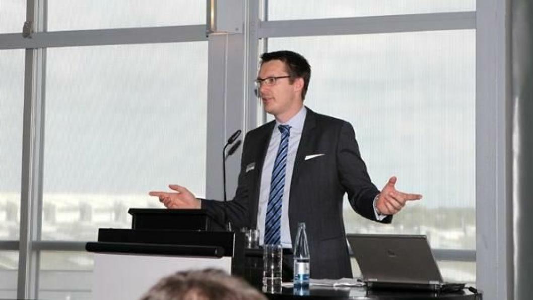 Marcel Frings, Chief Representative i Timocom, under pressekonferansen der selskapet lanserte sin nye app. Dette skjedde 23. september - to dager før nyttekjøretøymessen IAA startet i Hannover.