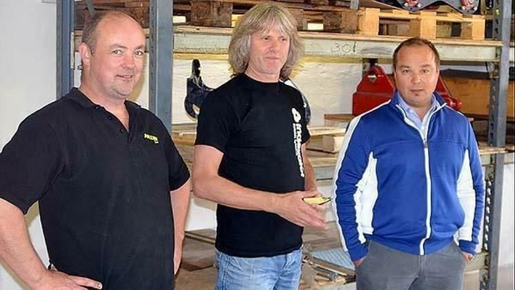Per Iversen (til venstre), Bjørn Skribeland og Finn Thrane Johansen skal jobbe hos Indexator i Norge. De åpner i nye lokaler på Skedsmokorset i oktober.
