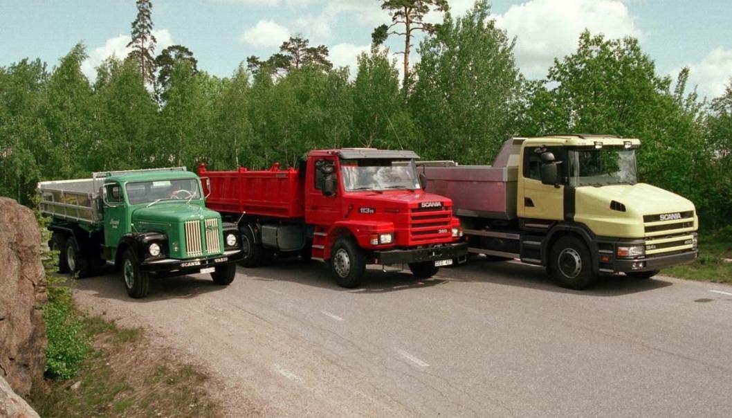 Tre representanter for et stolt kapittel i Scanias historie: F.v. LT75 som satte Scania-Vabis på verdenskartet da den kom i 1958 (produsert helt til 1980), image-skaperen T141, og T124 fra 1996.