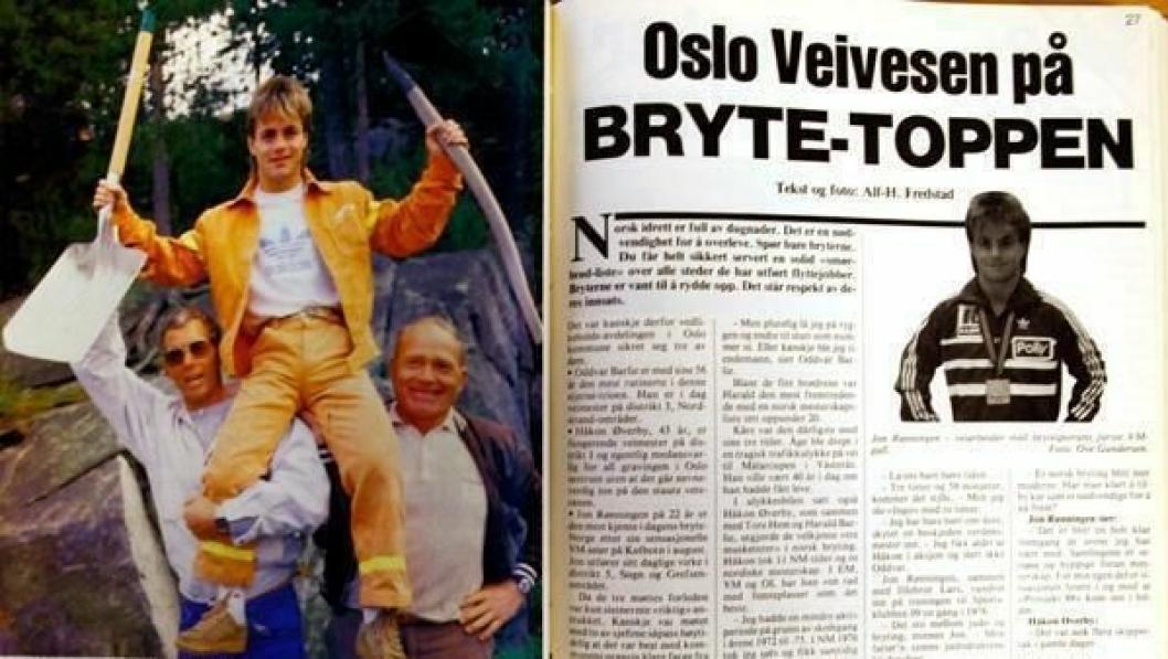 Den minste er blitt den største. Håkon Øverby (t.v.) og Oddvar Barlie hever verdensmester Jon Rønningen.