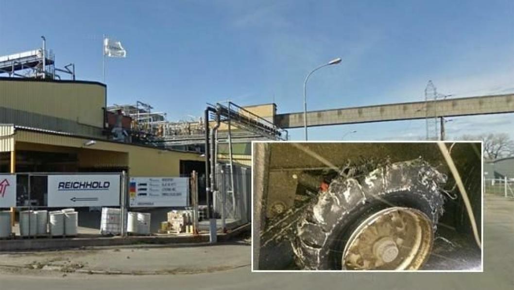 Traileren med punkterte dekk og umerket farlig last skulle til anlegget til Reichhold på Øra ved Fredrikstad.