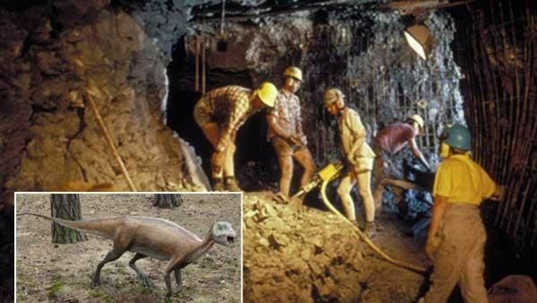 Under utgravningen i Dinosaur Cove ble det brukt boreutstyr fra Atlas Copco.