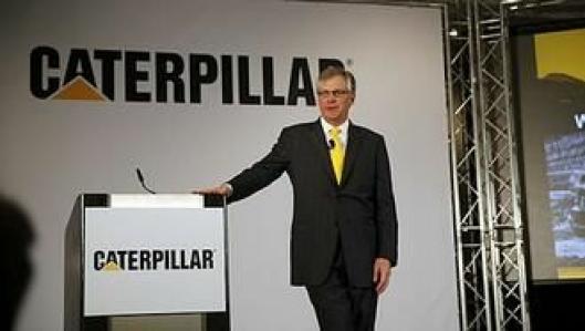 Cat-president Douglas R. Oberhelman strålte på selskapets pressekonferanse.