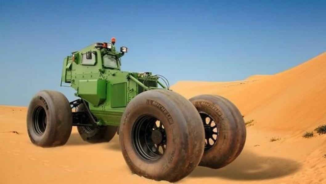 Souvim II med Michelin LX PSI 710/75 R 34 anti-landminedekk.