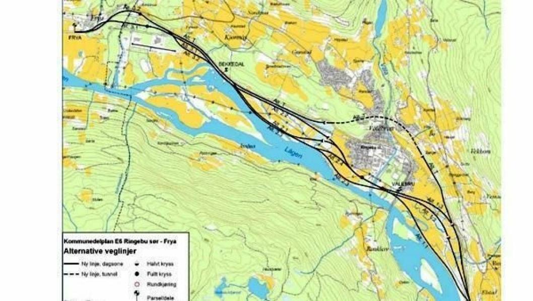 Lokalpolitikerne har bestemt seg for alternativ 1.1 langs elva nordover fra Elstad.