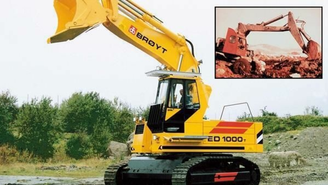 Det er vel 40 år mellom Brøyt X, som var en av verdens første hydraulisk opererte gravemaskiner da den ble lansert i 1956, og 65-tonneren ED 1000T. Etter 50 års Brøyt-produksjon på Bryne selges navn og produksjonsrettigheter til Finland.