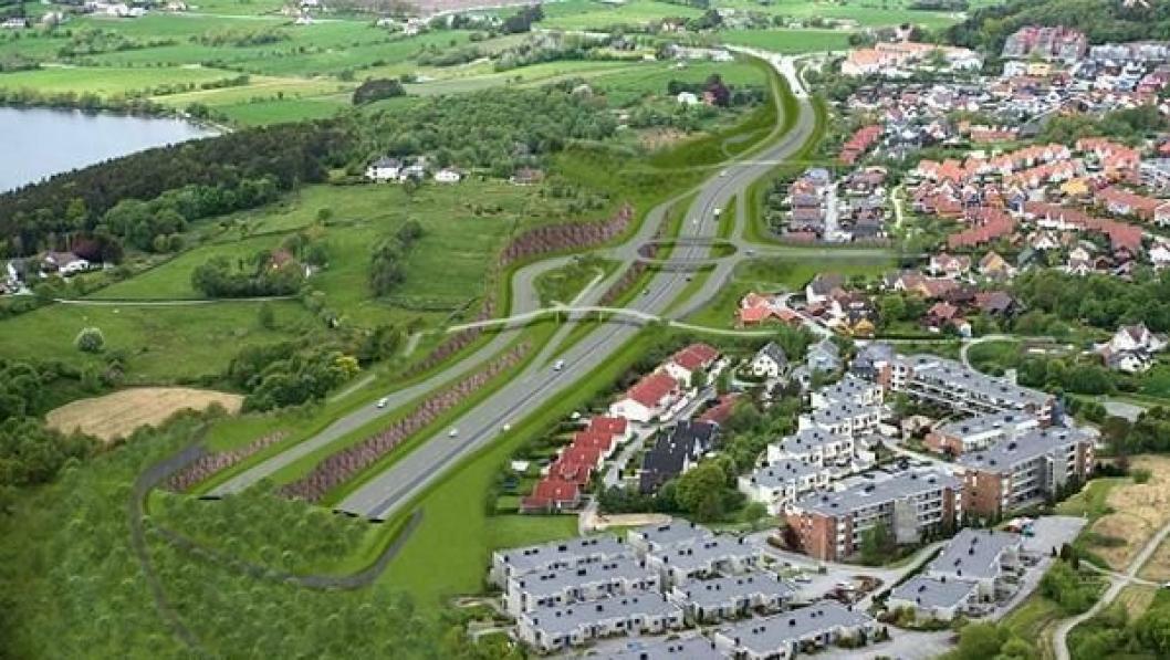 Illustrasjon som viser ny E39 sett sørøstover mot krysset med Randabergveien. Adkomsten til utfartsparkering og Nordalssvingene er lagt om og dagens fotgjengerundergang erstattes med bru.