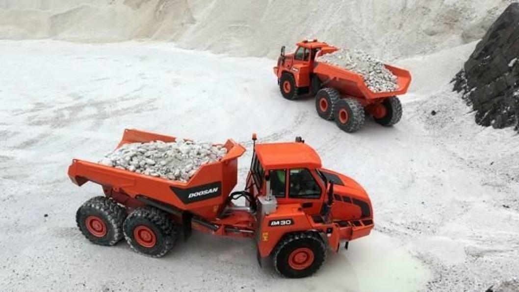 De nye Doosan-dumperne fra Elnesvågen er nå i drift i Norge og Tyskland.