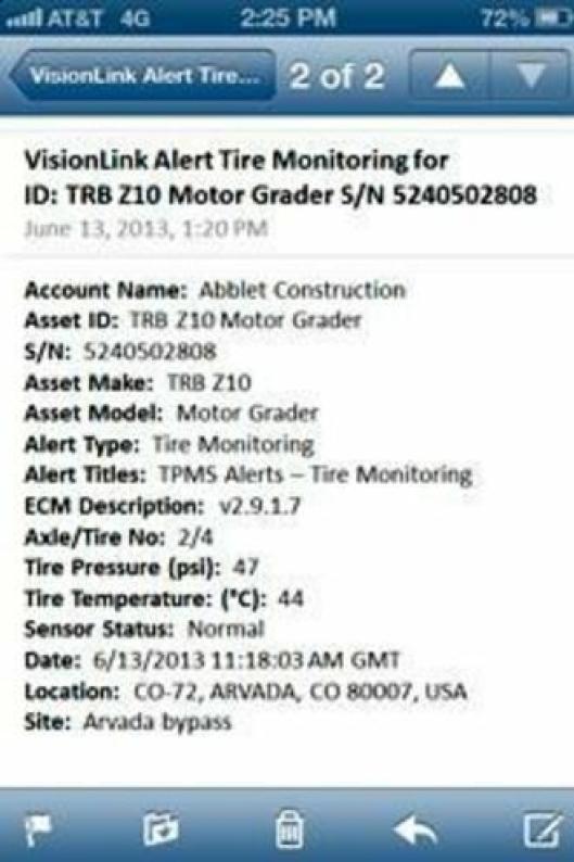 E-postvarsling, her vist på mobiltelefon.