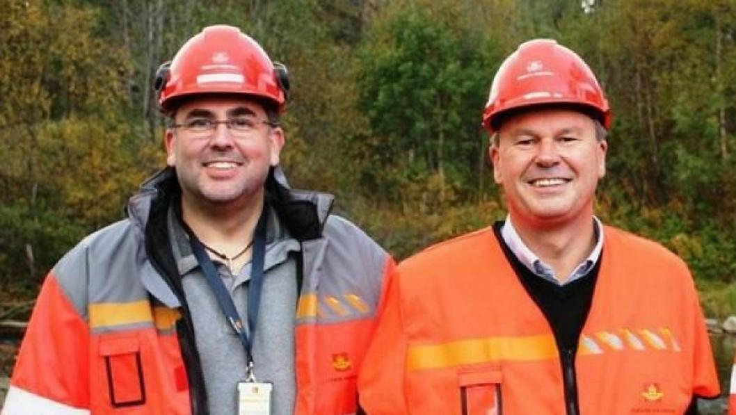 Byggeleder Nils Morten Beitnes og prosjektleder Lars Bjørgård er godt fornøyd med at mange konkurrerte om å få jobben.