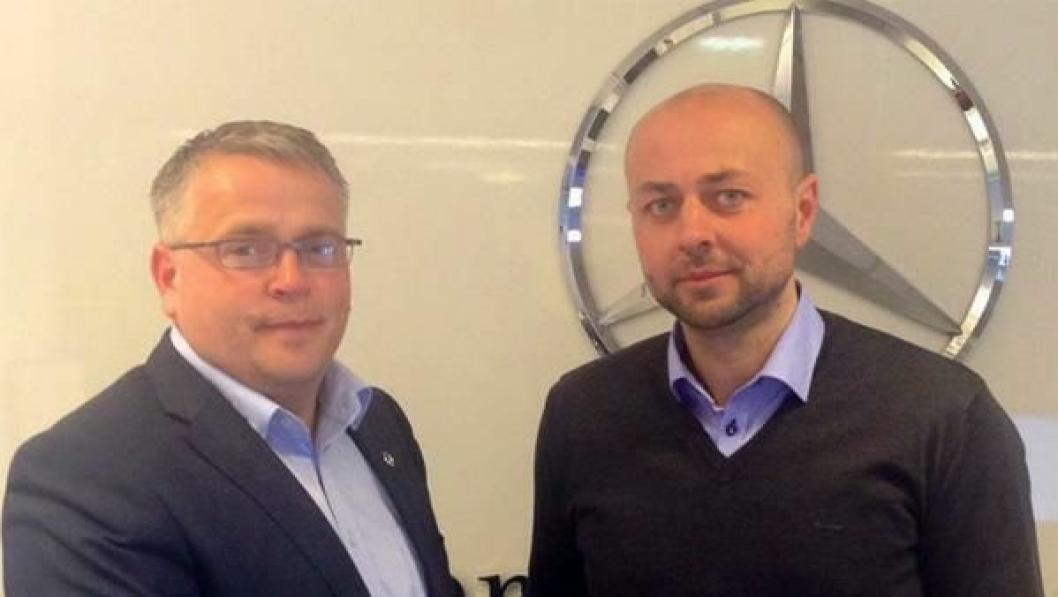 Ettermarkedsleder BOS Arna, Robert Davidsen Raa (t.v.) og daglig leder i HMF Norge, Annbjørn Vasdal er i havn med en ny avtale.