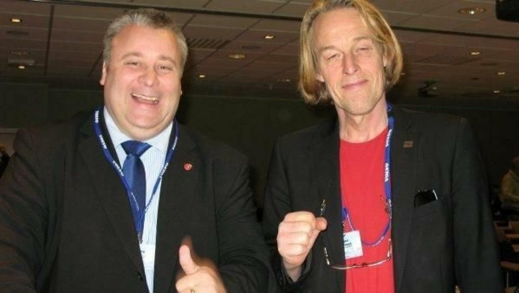Frps Bård Hoksrud (t.v.) inviterer de rød-grønne til veidugnad. Her sammen med kollega i Stortingets transportkomite, SVs Hallgeir Langeland.