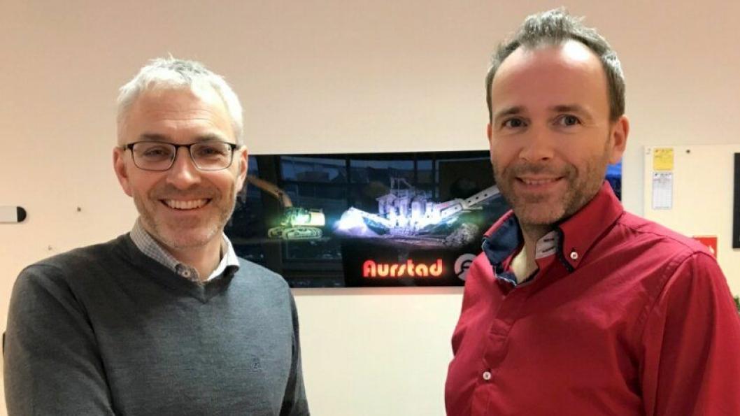 Jo Stian Tverberg (t.v.) blir ny administrerende direktør for K. A. Aurstad AS og Aurstadkonsernet fra mars 2018. Til høyre er konsernsjef og hovedeier Cato Aurstad.