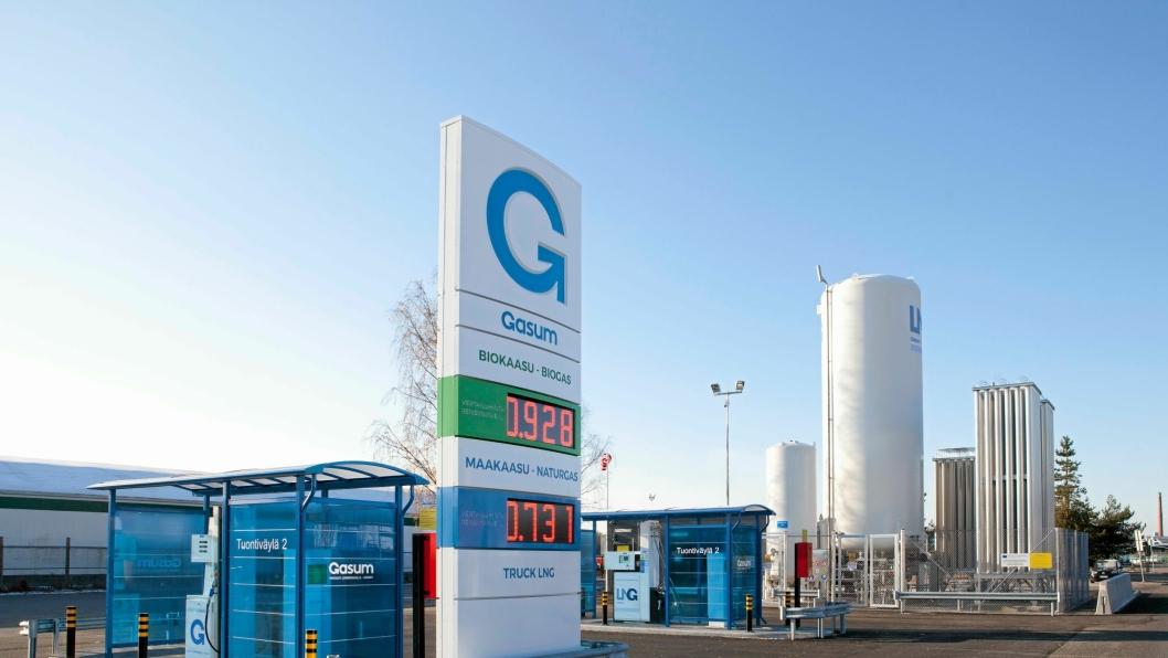 FYLLESTASJON: Gasum har bygd ut et godt nettverk av gassfyllestasjoner i Finland som her i Tammerfors. Nå kommer Norge og Sverige etter.