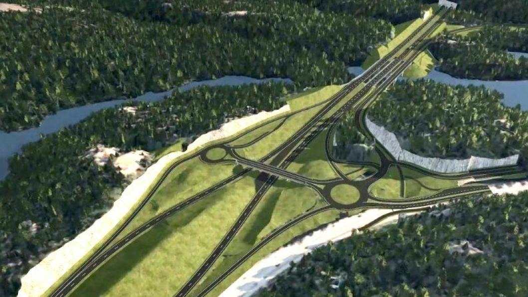 Ved Grauthelleren vest for Kristiansand sentrum starter byggingen av ny trafikksikker firefelts E39 vestover. Illustrasjonen viser blant annet toplankryss som skal etableres der.