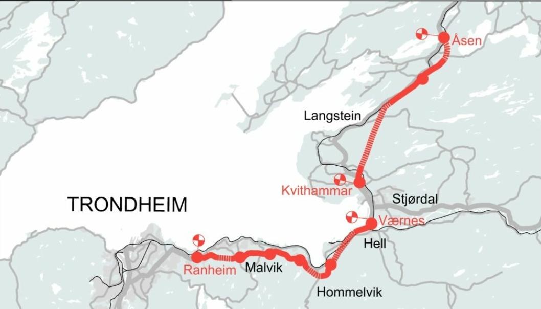 Det er ikke mulig å bygge tunnel der det opprinnelig var tenkt ved Åsen i Nord-Trøndelag (se illustrasjonen).
