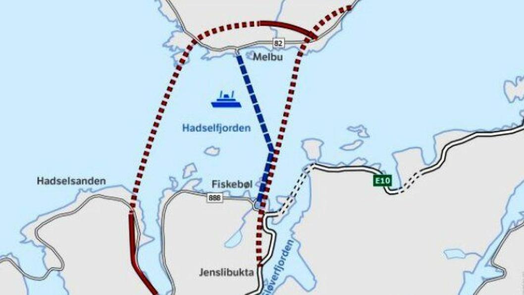 Statens vegvesen vurderer to alternative tunneler under Hadselfjorden.