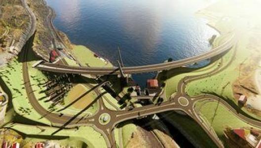 Illustrasjonen viser den nye situasjonen på Farriseidet i 2021. Vi ser av- og påkjøringene til/fra Larvik, nordover og sydover. Trafikken nordfra kjører av til Larvik rett før Farrisbrua, til høyre i bildet. Nordover er påkjøringen omtrent på samme sted som i dag.Trafikken sydover/sydfra skal bruke gammel E18 til/fra Sky-krysset, som på- og avkjøring. Veien skal legges over portalen inn mot Martineåstunnelen. Midt i bildet ses den nye firefelts brua, med rundkjøringer på hver side. Nærmere Farrisbrua bygges en mindre bru for tilkomstveien til Bøkeskogen og Farriskilen. Bredden ved området under Farrisbrua skal bearbeides med vannspeil og nye odder.