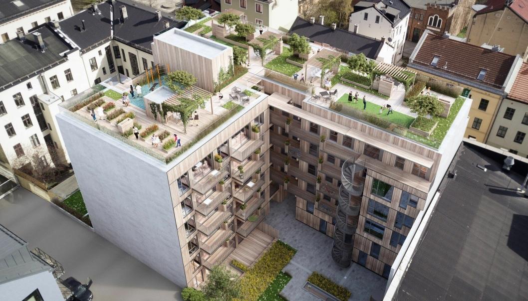 Veidekke skal bygge 40 leiligheter i massivtre på Grünerløkka.