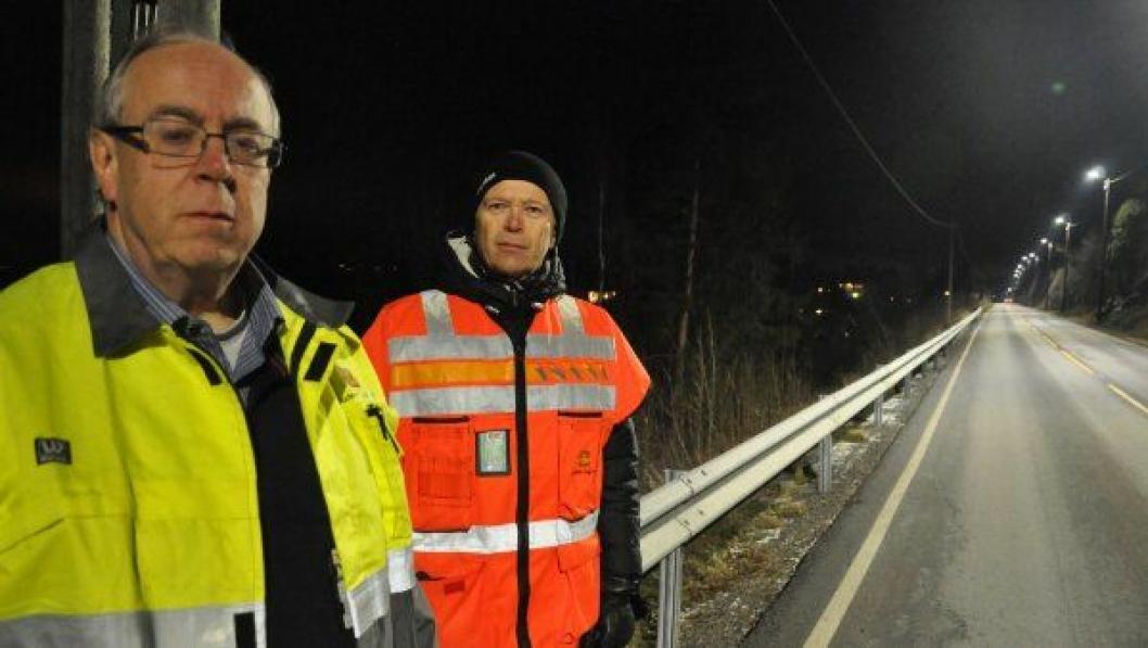 Ottar Bjørnstad og Ståle Fredheim i Statens vegvesen ved fv. 155 i Hole.