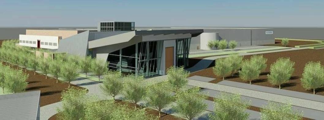 Illustrasjon av Hyundais nye kontorkompleks med lager og stor uteplass i Tessenderlo i Belgia.