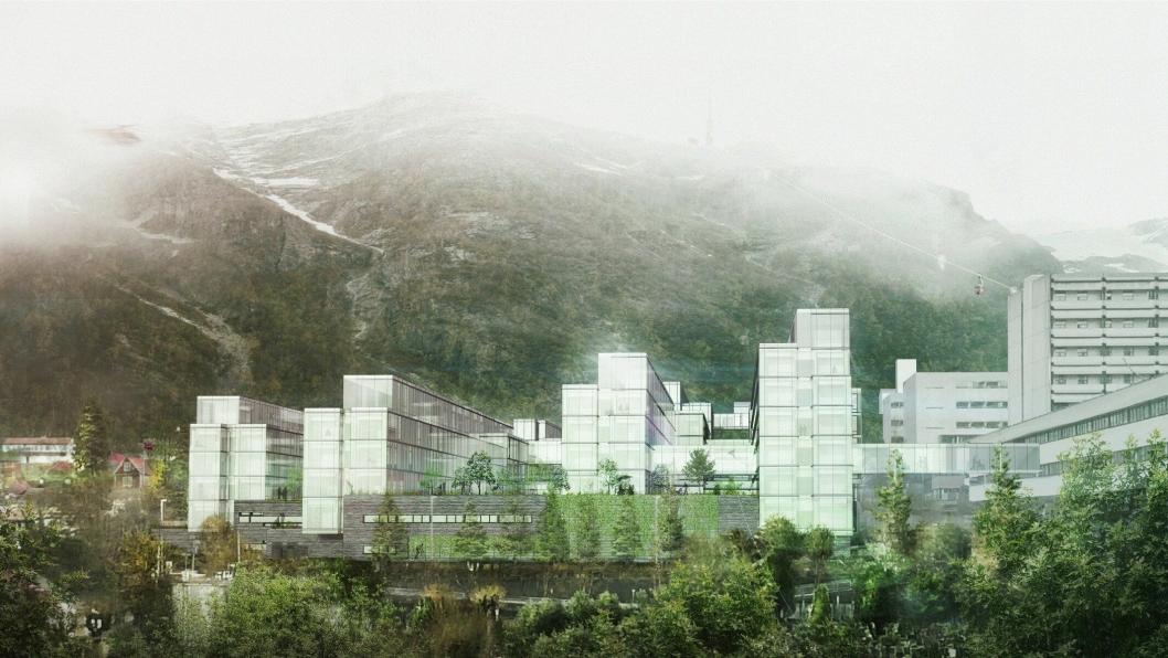 Slik skal Helse Bergens Haukeland universitetssykehus bli. Illustrasjon: KHR Architecture