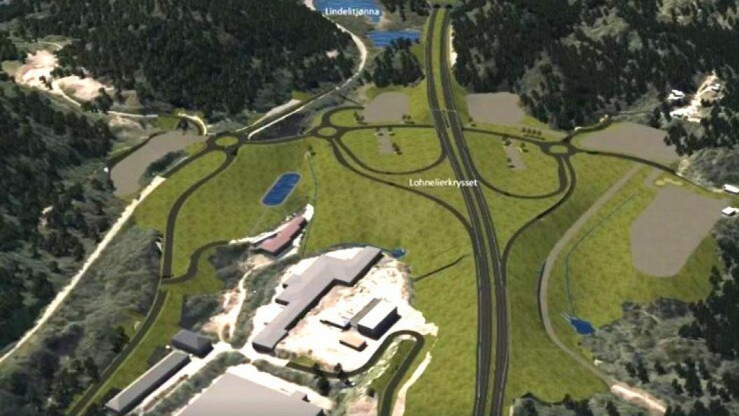 Slik ser man for seg at Lohnelierkrysset i Søgne kommune kan se ut. Illustrasjon: Nye Veier