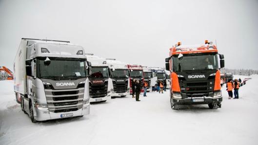 SAMLING: Også i år er det 20 lastebiler til prøvekjøring når Scania arrangerer Scania Winter.