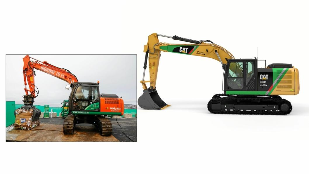 Nasta har produsert en elektrisk drevet Hitachi-graver og Pon har produsert en elektrisk drevet Cat-graver. Norge leder an på veien mot elektriske gravemaskiner. Foto: Nasta og Pon (sammensatt av AT.no)