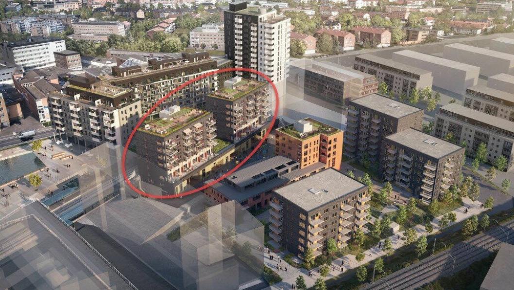 Nå starter byggingen av det tredje trinnet på Ensjø Torg (i rød sirkel). Illustrasjon: Skanska
