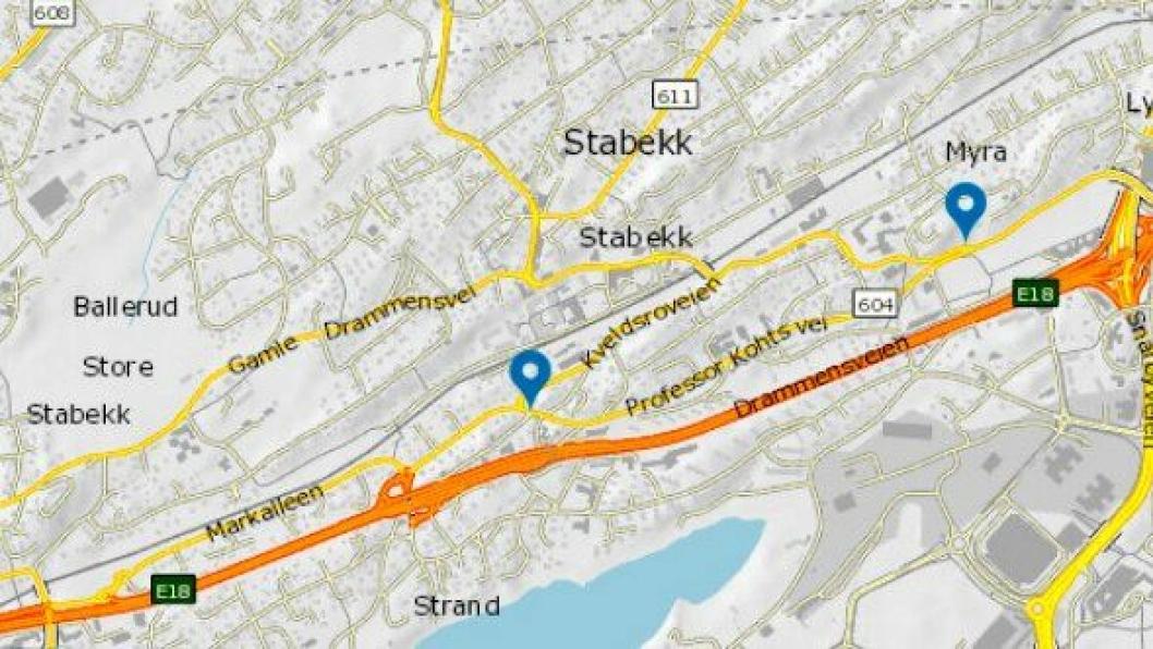 Prosjektet strekker seg fra krysset Kveldsro Terrasse/ Markalleen til Professor Kohts vei/ Gamle Drammensvei