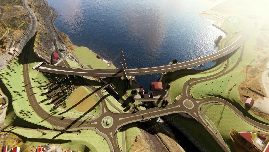 Illustrasjonen viser den nye situasjonen på Farriseidet i 2021. Illustrasjon: Statens vegvesen
