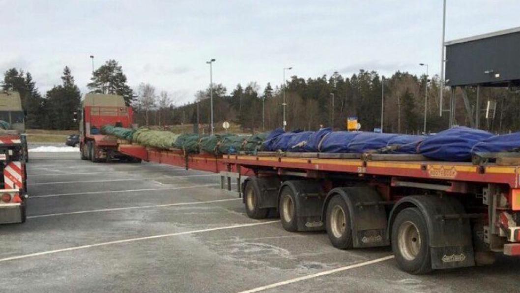 5. februar 2018 ble disse to spesialtransportene stoppet på Svinesund med sommerdekk, og andre mangler. Foto: Statens vegvesen