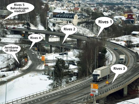 Farriseidet; bruer som skal rives. Illustrasjon: Statens vegvesen