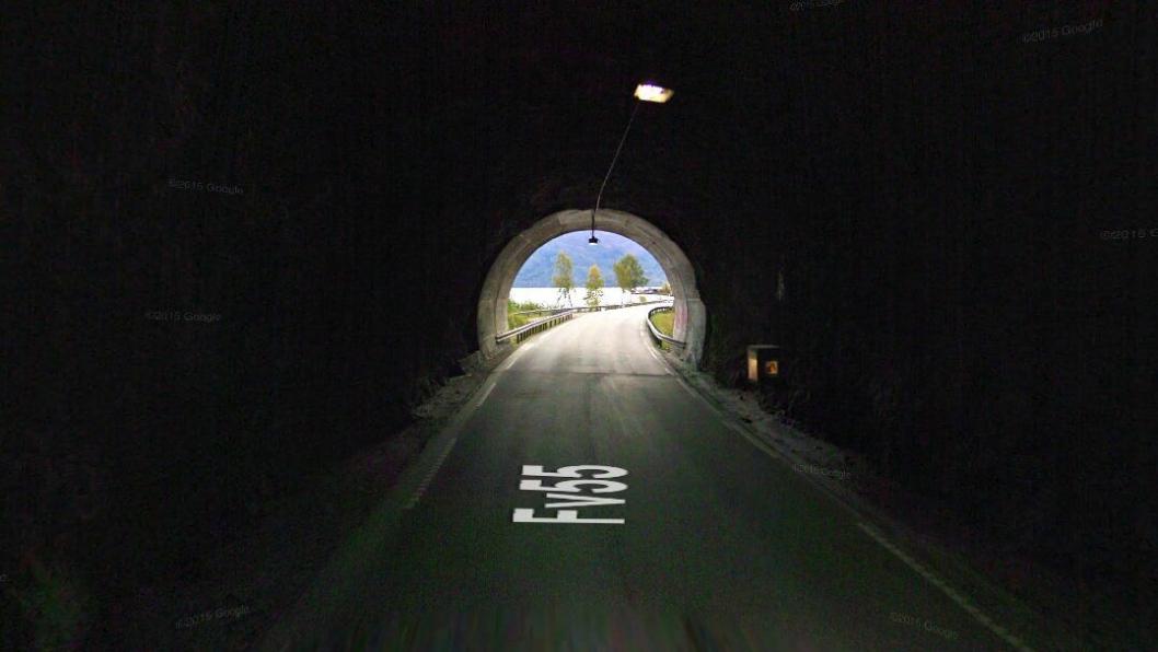 Fv. 55 Røneidtunnelen er en av de tre tunnelene som skal oppgraderes. Foto: Google Street View