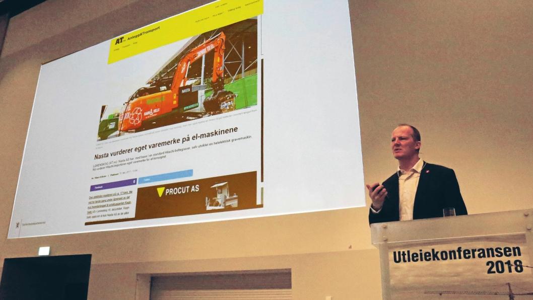 Samferdselsminister Ketil Solvik-Olsen var på plass på åpningen av Utleiekonferansen og holdt et innlegg.Foto: Klaus Eriksen