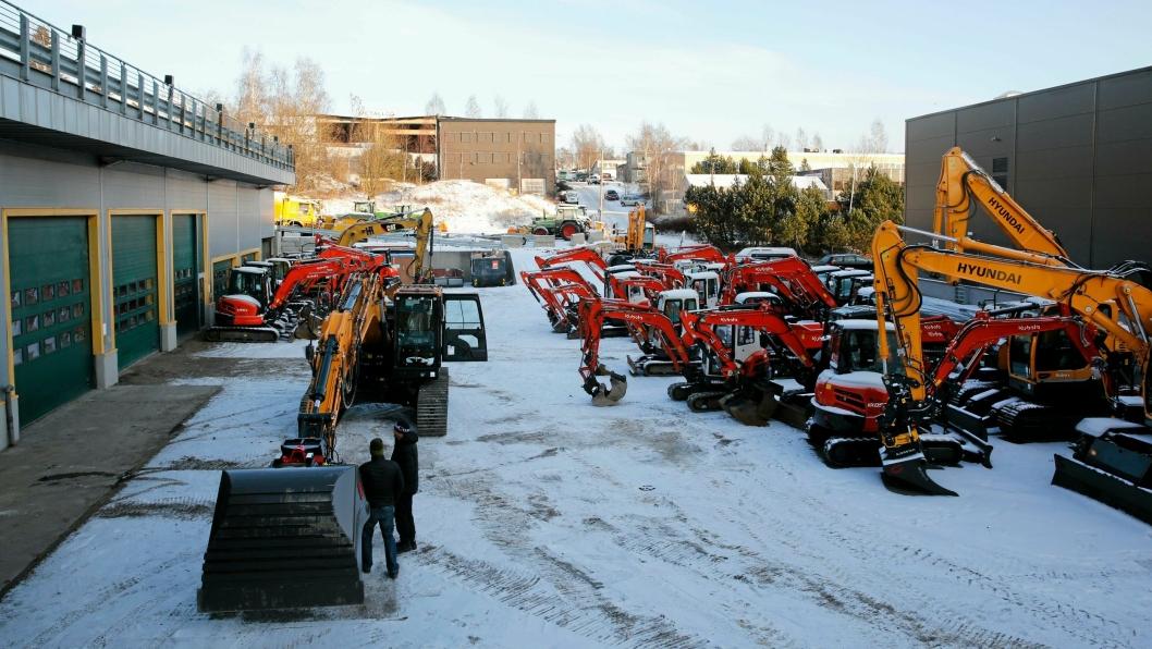 Bilde fra Hymax' avdeling på Alnabru i Oslo, januar2016. Premium-garantien på brukte maskiner skalk i første omgang gjelde Kubota-maskinene. Foto: Klaus Eriksen