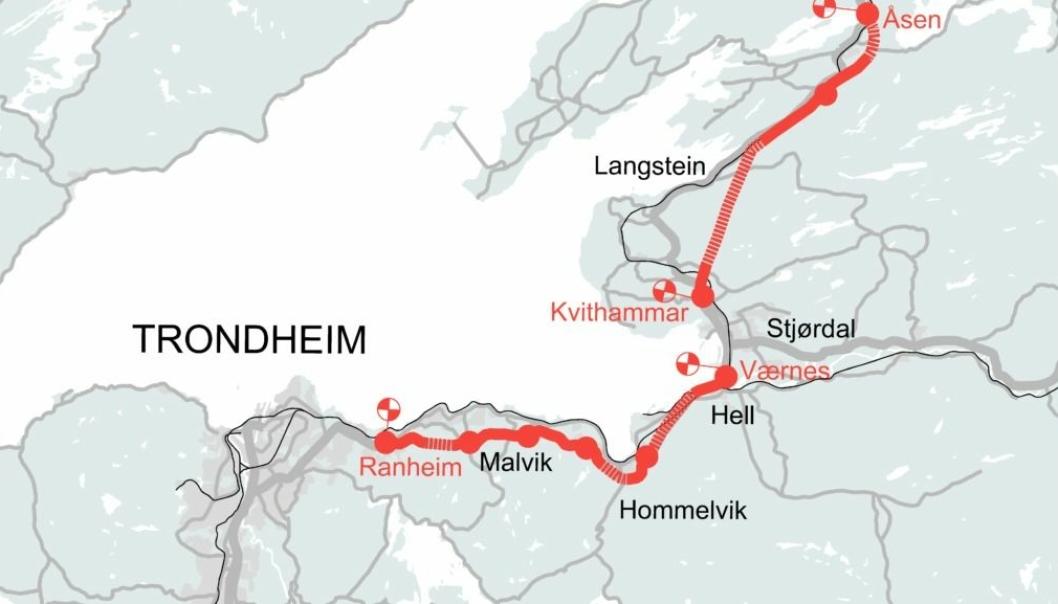 Fem er kvalifisert til å komme med tilbud på E6 Ranheim-Værnes. (Kvithammar -Åsen er en annen entrepreise)