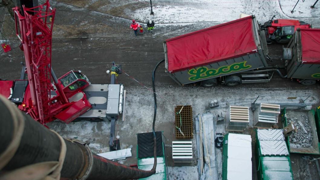 Leca ble blåst åtte etasjer rett til værs i Tønsberg.