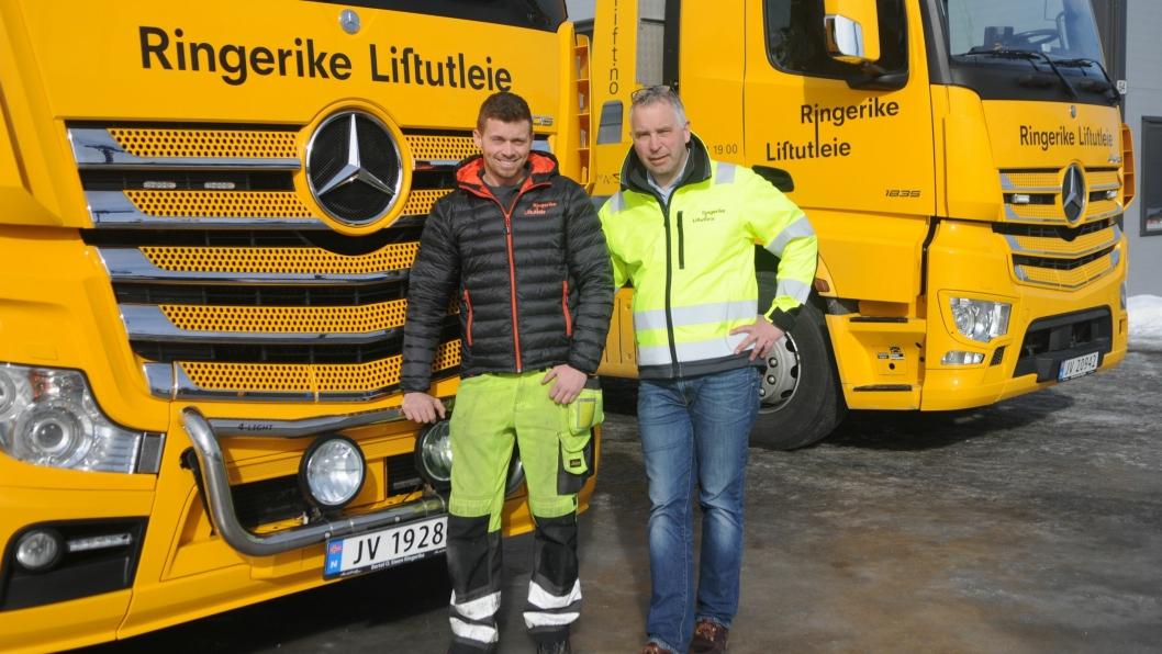 – Vi har til sammen åtte dedikerte og motiverte medarbeidere som har bidratt til vår vekst, sier markedssjef Marius Bergheim (t.v.) og daglig leder Arne Kristian Sollien  i Ringerike Liftutleie.