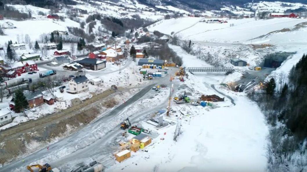 Arkivbilde av prosjektet E6 Soknedal sør for Trondheim i Trøndelag tatt.