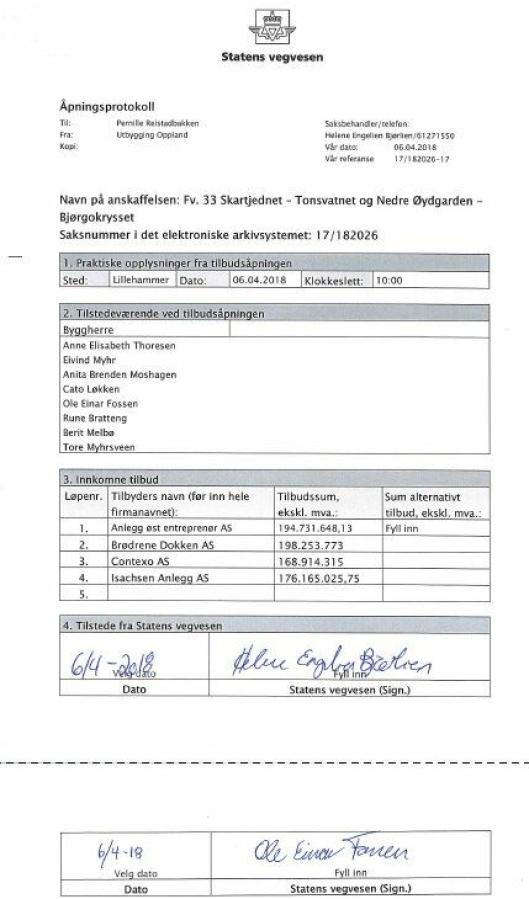 Åpningsprotokollen på Fv. 33 Skartjednet – Tonsvatnet og Nedre Øydgarden – Bjørgokrysset.