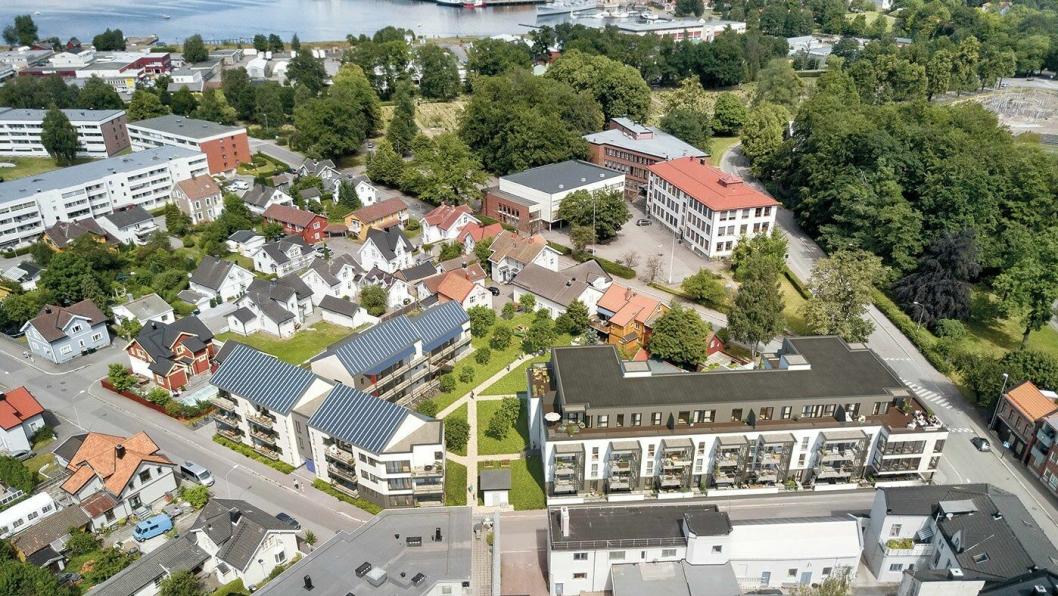 Prosjektet Karolines Hage er sentralt beliggende i Horten, og det skal se slik ut når byggingen er ferdig.