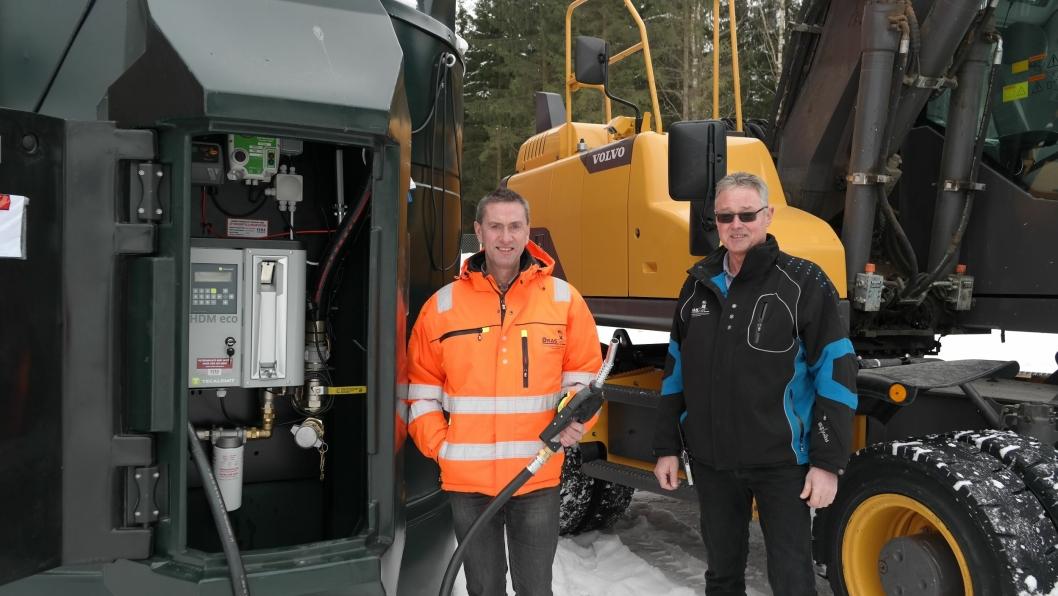 Daglig leder Trym Denvik i ØRAS og driftssjef Arild Snekkerhaugen i ØRAS satser fossilfritt.
